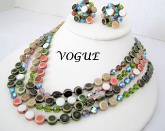 Vogue Necklace Set - Glass Beaded - Faceted Beads - Multicolor 4 Strands