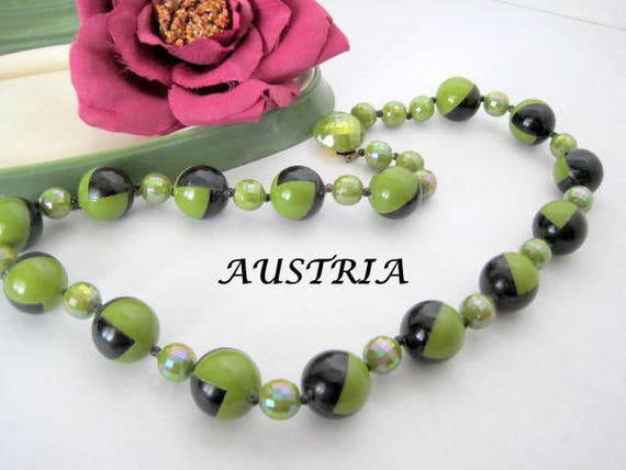 Mid Century Bead Necklace - Geometric Signed Austria - Green Black Irridescent