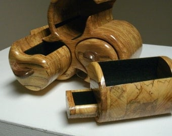 """Spalted Jewelry Box. 7.5""""H x 8.5""""H x 5.5""""D."""