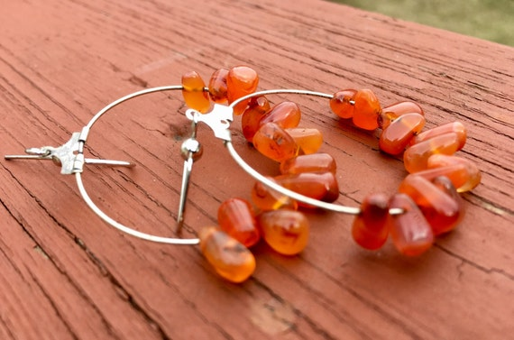 "Carnelian  ""Simply Chandelier"" tear drop Earrings"