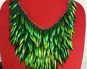 Necklace Beetle Wings Green Natural