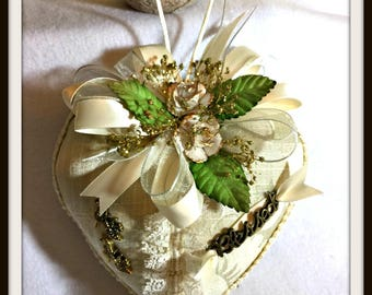 "Sachet ""Blessed"", Victorian Inspired Sachet For Mother's Day, Heart Shaped Inspirational Gift Item, Handmade One of A Kind Sachet"