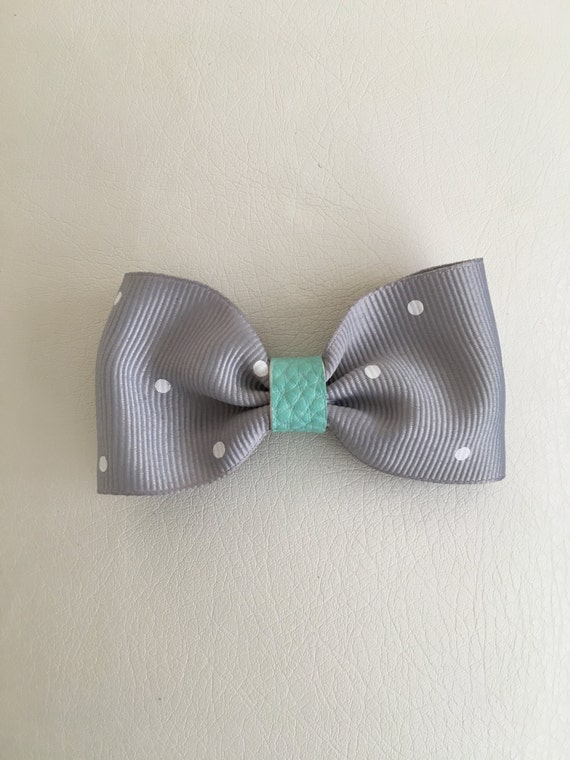 Grey and White Polka Dot Bow with Aqua Faux Leather Accent