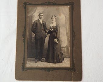 Antique Photograph- Large - Victorian Married Couple- Man and Woman- Husband/ Wife- Late 1800's- 6 by 8 inches- Vintage Black and White