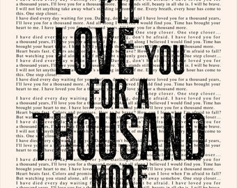 A Thousand Years Book Page - Christina Perri Lyrics Typography Print