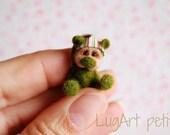 Greeny, a tiny OOAK artist bear.