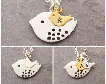 Custom Mom Necklace, 1-2 kids, personalized jewelry, mother necklace, baby initial, initial necklace, mother bird necklace, N2
