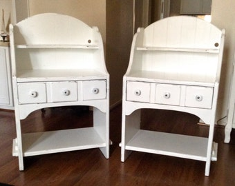 Pair of White Farmhouse Chic Maple High Backed End Tables, Nightstands