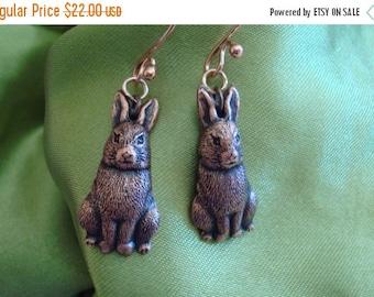 """Rabbit Earrings, Animal Lover,Lightweight Earrings,Easy to Wear,Red Copper Earrings,""""Little Mean Bunnies"""",Hare Earrings,Rabbit Earrings,Gif"""