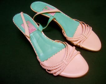 LILLY PULITZER Pink Leather Sandals Made in Italy US Size 10 M