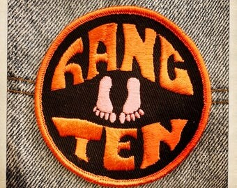 Awesome HANG TEN – Round Patch Authentic Vintage 70s Denim Hippy Hippie Boho Surf Surfing