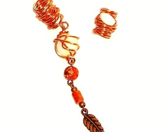 Dreadlock Jewelry - Antique Copper Feather Charm Loc Jewel and Coordinating Slide