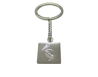 Silver Toned Etched Pelican Bird Keychain