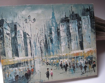 Vintage Acrylic French Street Scene Painting Signed S. Diviy