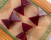 "4 Burgundy Bow Tie Shaped Buttons,18 X 16mm, Angled Shape, '30s ""Latest Style"" Perfection Brand Card, Plastic, Tunnel Shank, Collectible"