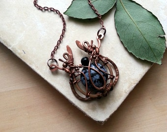 Wire Wrapped Pendant Copper necklace - Wire wrapped Jewelry Gift for her - Wire jewelry Copper pendant - Wire Pendant Black stone Obsidian