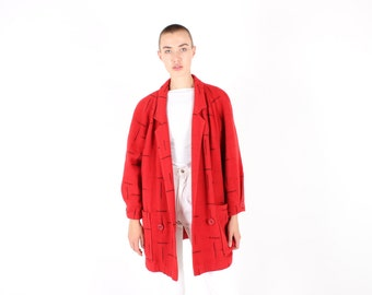 80s AVANT GARDE Printed Fire Engine Red Wool Jacket / Coat / Overcoat w/ Super Unique Pattern