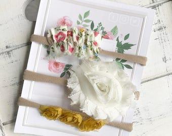 Yellow Rose, Cream Rose, Yellow Floral HEADBAND SET of three / Newborn Baby Girl Gift/ Baby Shower Gift/ Toddler Set/ Nylon Headband set
