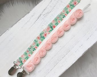 You CHOOSE Pink and Green Floral Pacifier or Blush Pink Clips/ Newborn Gift/ Baby Girl Shower Gift/Flower Child/ Baby Accessories
