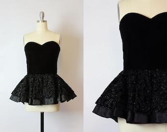 vintage 80s black velvet bustier / 1980s peplum bustier / velvet corset top / beaded black velvet satin top / holiday party top