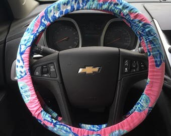 Steering Wheel Cover made with Lilly Pulitzer's Barefoot Princess fabric