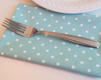 Teal Mini-Dot Lunch Napkins, Cotton Twill - Set of 4, Made in USA, Free Shipping, Machine Washable, Entertaining Gift