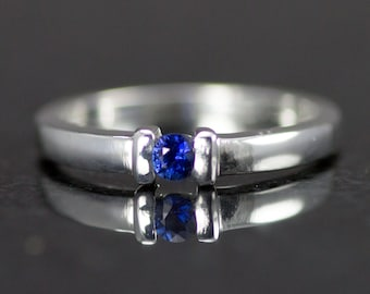 Sterling Sapphire Ring - September BirthstoneStacking Ring - Size 6 - Ready to Ship