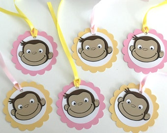 12 Curious George Favor Tags, Curious George Birthday Decorations, Monkey Favor tags, Curious George Party, Favor Tags, Curious George Party
