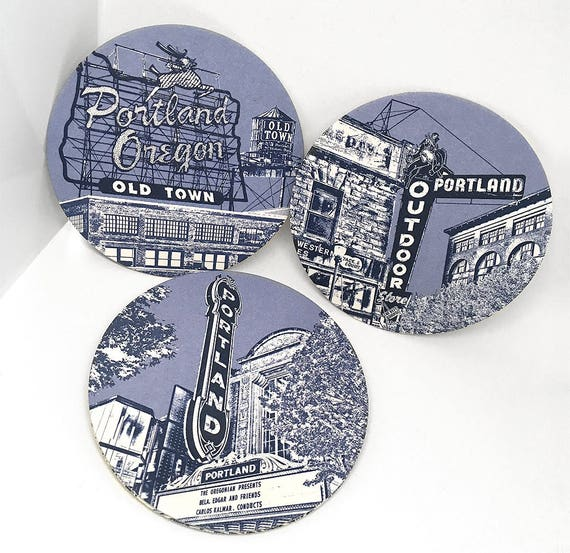 Coasters - Portland Oregon Marquees - 16pt Pulp - Most famous signs in PDX