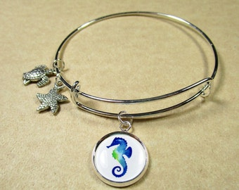 Seahorse Bangle Bracelet, Seahorse Jewelry, Seahorse Bracelet, Seahorse Expand It, Seahorse Gifts, Gift with Seahorse, Beach Bracelet