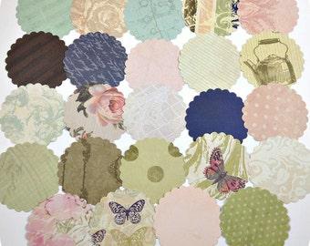 Assorted Scallop Paper Circle (24) Circle Gift Tags-Vintage Paper Circles-Circle Die Cut-Destash Paper Circles-Shabby Circles-Circle Punches