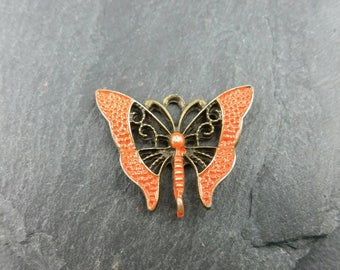 Antique bronze butterfy hand painted with orange patina