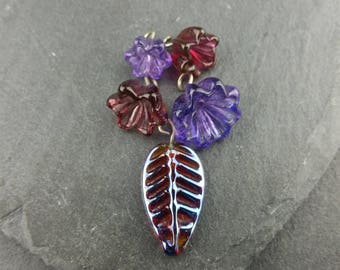 5 flower and leaf charms | Handmade lampwork glass beads.