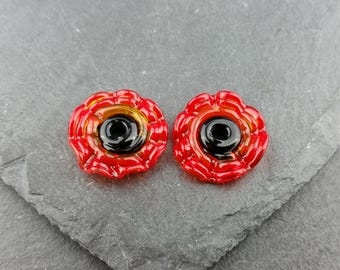 Pair of poppy handmade lampwork glass discs