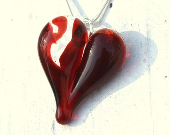Broken Heart Glass Pendant, Hand Blown Lampwork Necklace, Blown Boro Off Mandrel