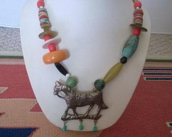 Multi Stone Horse Necklace