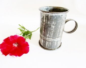 Old little German Vintage Primitive Rustic Aluminium Coffee Measuring Cup , Dolls House China Size, Rustic Farmhouse Home Decor