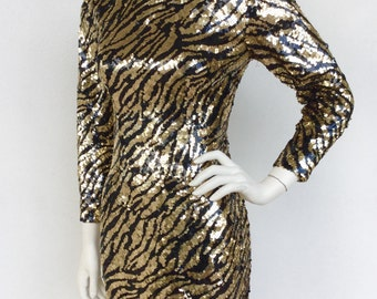 Stunning 1980's Lillie Rubin sequined tiger pattern designer knit dress