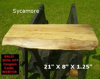 Live Edge Sycamore Finished Wood Slab Side Table Top DIY Floating Shelf Display