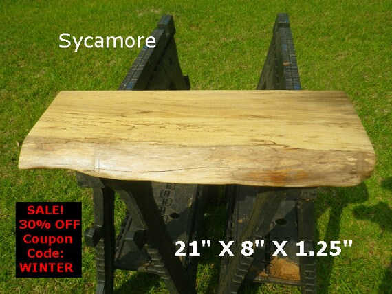 Live edge sycamore finished wood slab side table top diy for Finished wood slabs