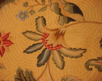 Vintage Yellow Flowered Upholstery Drapery Fabric Material