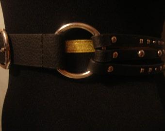 Vintage 1990s Boho Chic Black Ornate Belt