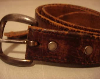 Vintage 1970 Distressed Leather Brown Belt Unisex