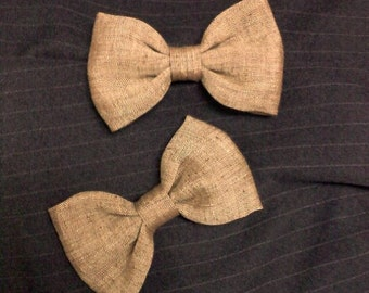 little boys bowtie,  Golden Tan Brown cotton linen