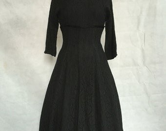 SALE!!Black lace 1950s cocktail dress with sassy satin bow
