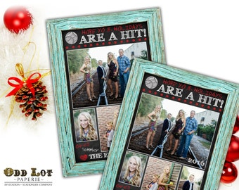 Printable Christmas Cards, Baseball Themed  Christmas Card,  Photo Christmas Cards, Chalkboard, Wood Frame, Rustic Digital Holiday Card