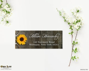 Rustic Sunflower Address Labels DIY Avery Labels Digital Files Country Rustic Wedding Return Address Labels Printable Address Labels