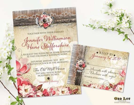 Floral Wedding Invitation Printable Wedding Invitation Suite Rustic Chic Wedding Invite Blush Marsala Magnolia invite set DIY Invites