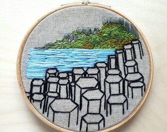 Hand embroidered Giant's Causeway hoop