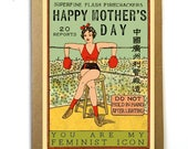 Mother's Day Card; You Are My Feminist Icon; Vintage Imagery; Vintage Matchbook Cover; Boxing; Female Boxer; Original Mother's Day; Feminist